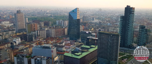 Skyline di Milano con Torre Breda, Diamond Tower, Torre UTC. Torre Solaria