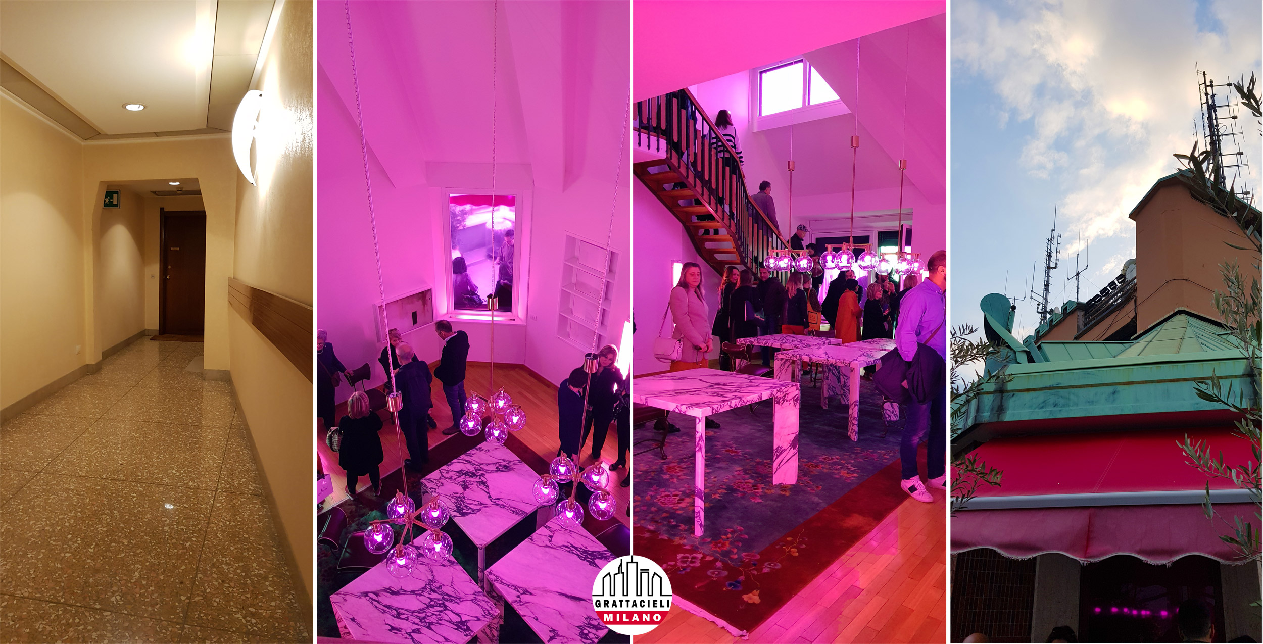 Torre Velasca - L'attico. Vista dei corridoi, del salone dell'attico e del tetto.
